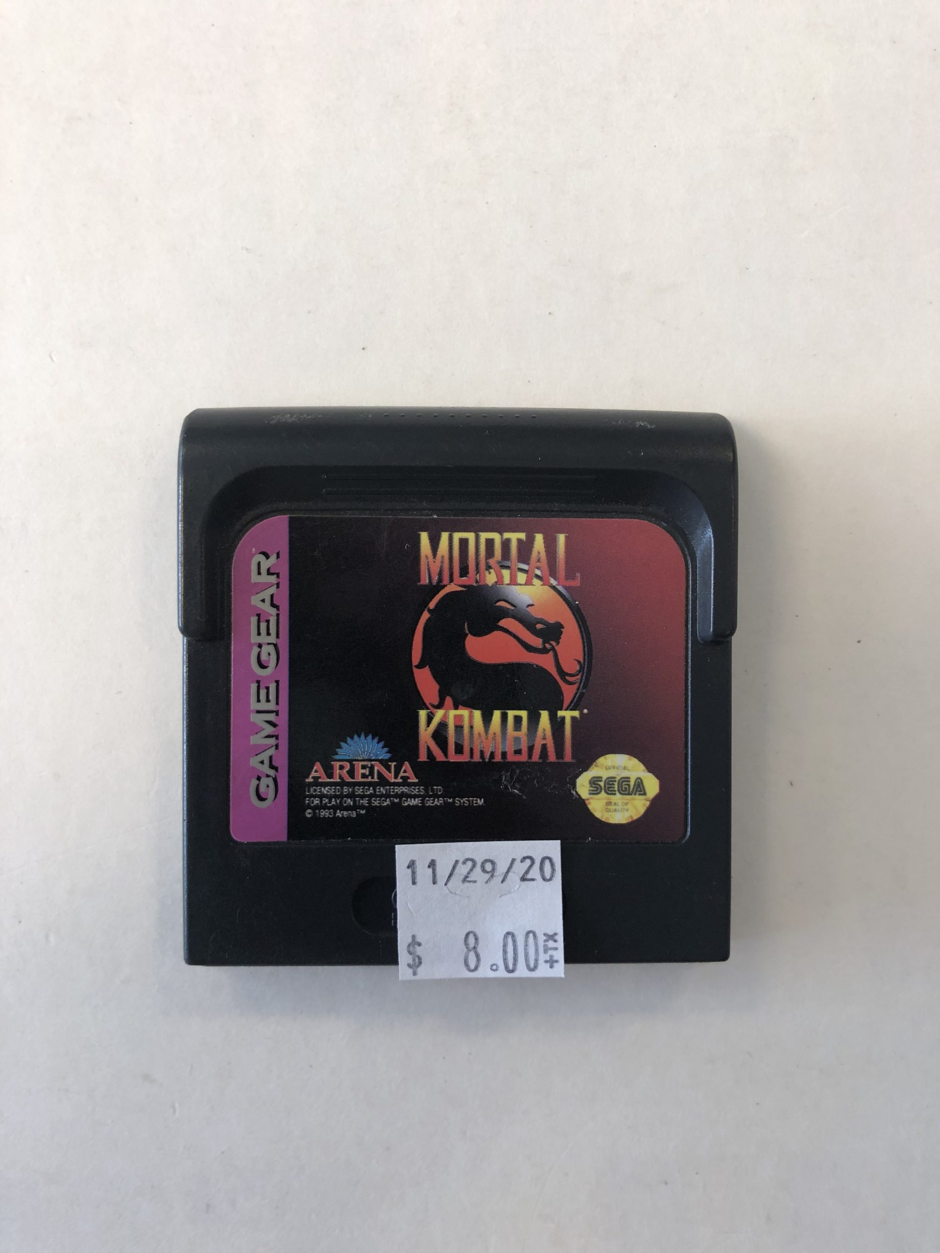 Mortal Kombat Cartridge Game Gear
