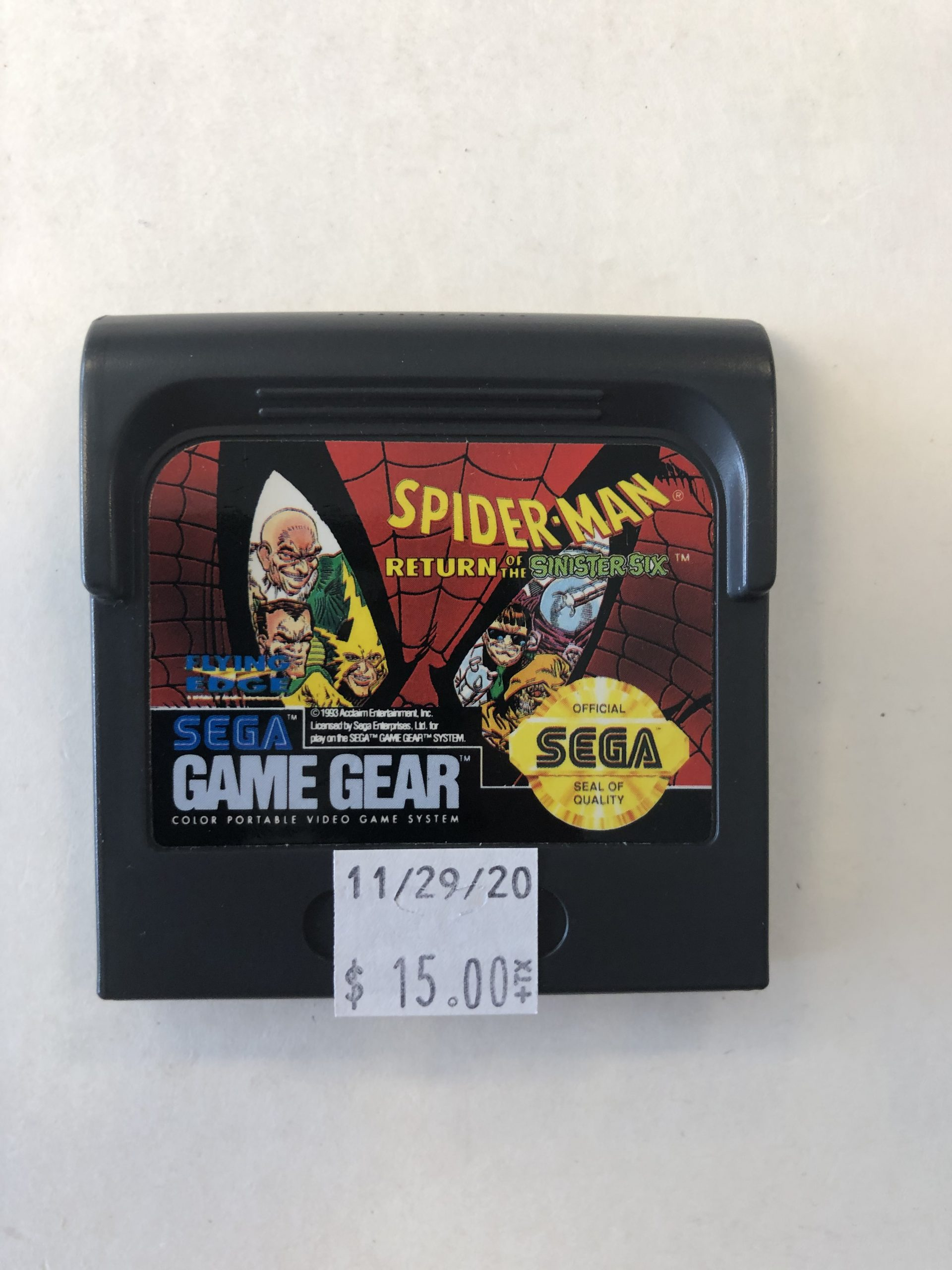 Spiderman Return Of The Sinister Six Cartridge Game Gear