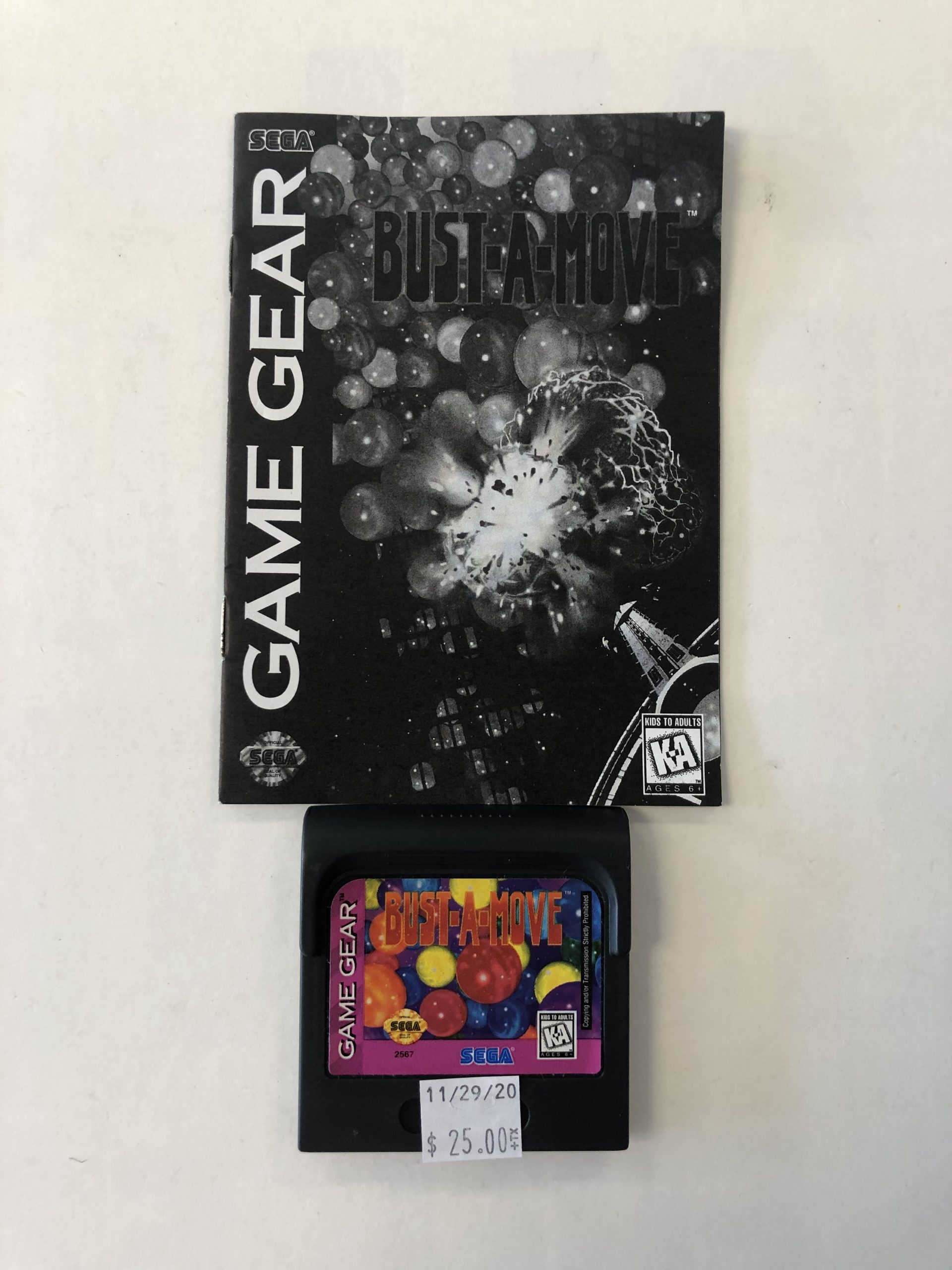 Bust A Mover Cartridge And Manual Game Gear