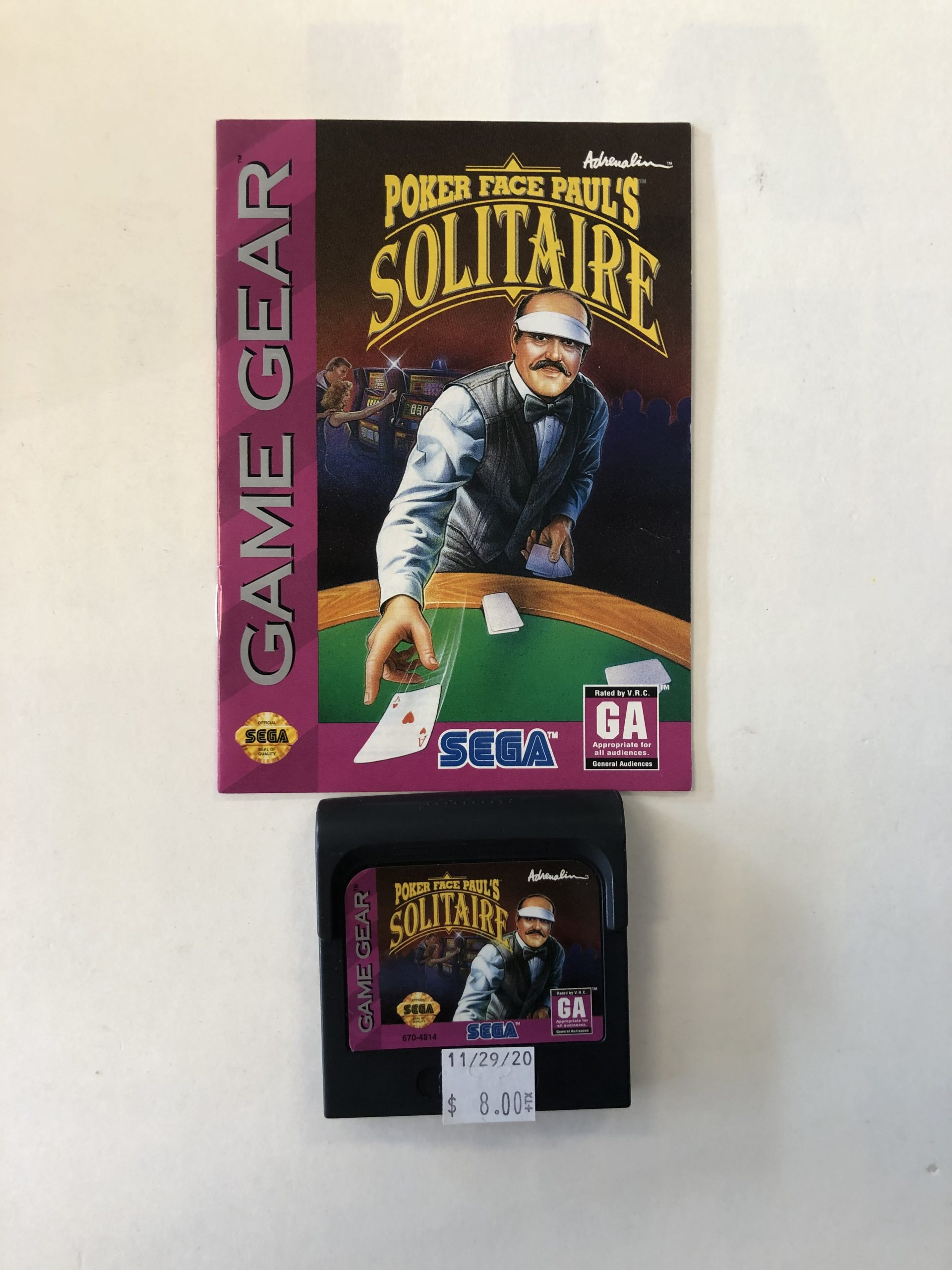 Poker Face Paul's Solitaire Cartridge And Manual Game Gear