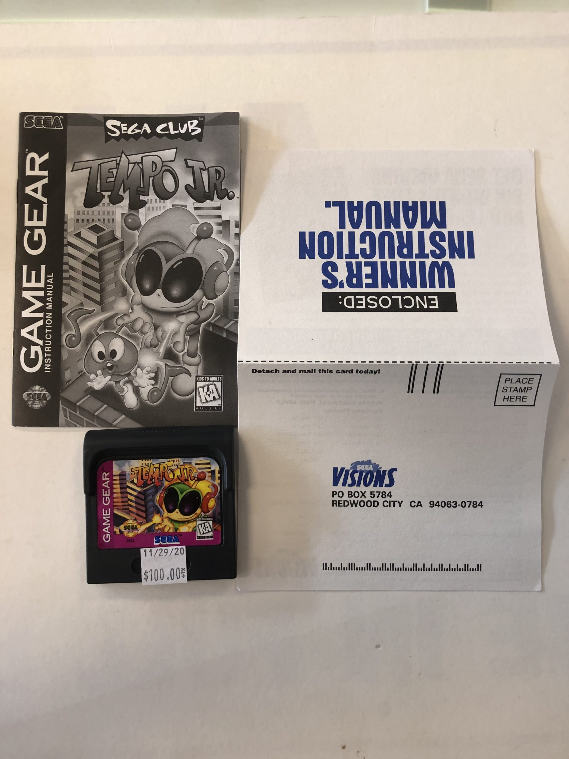 Tempo Jr. Cartridge And Manual Game Gear