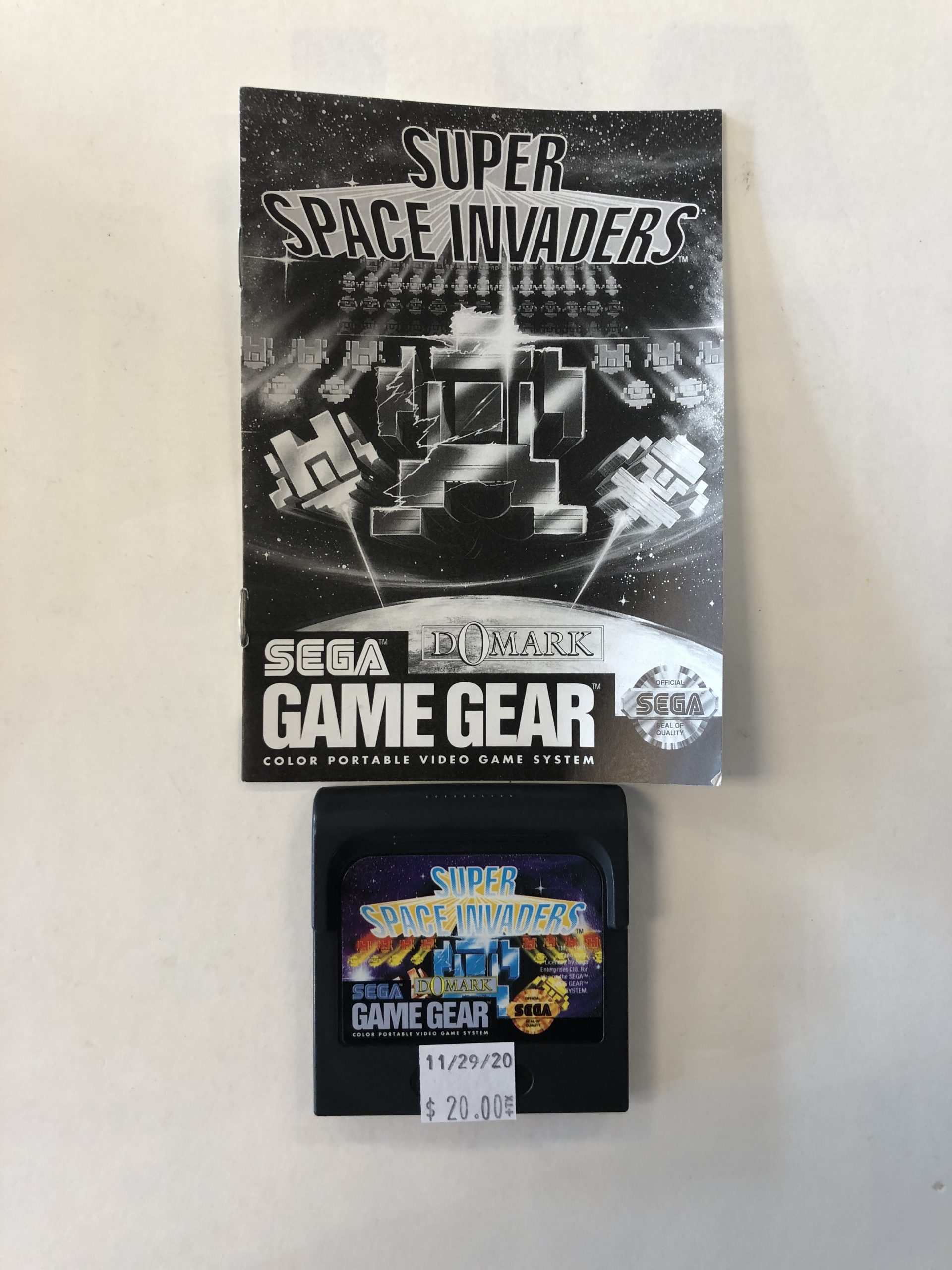 Super Space Invaders Cartridge And Manual Game Gear