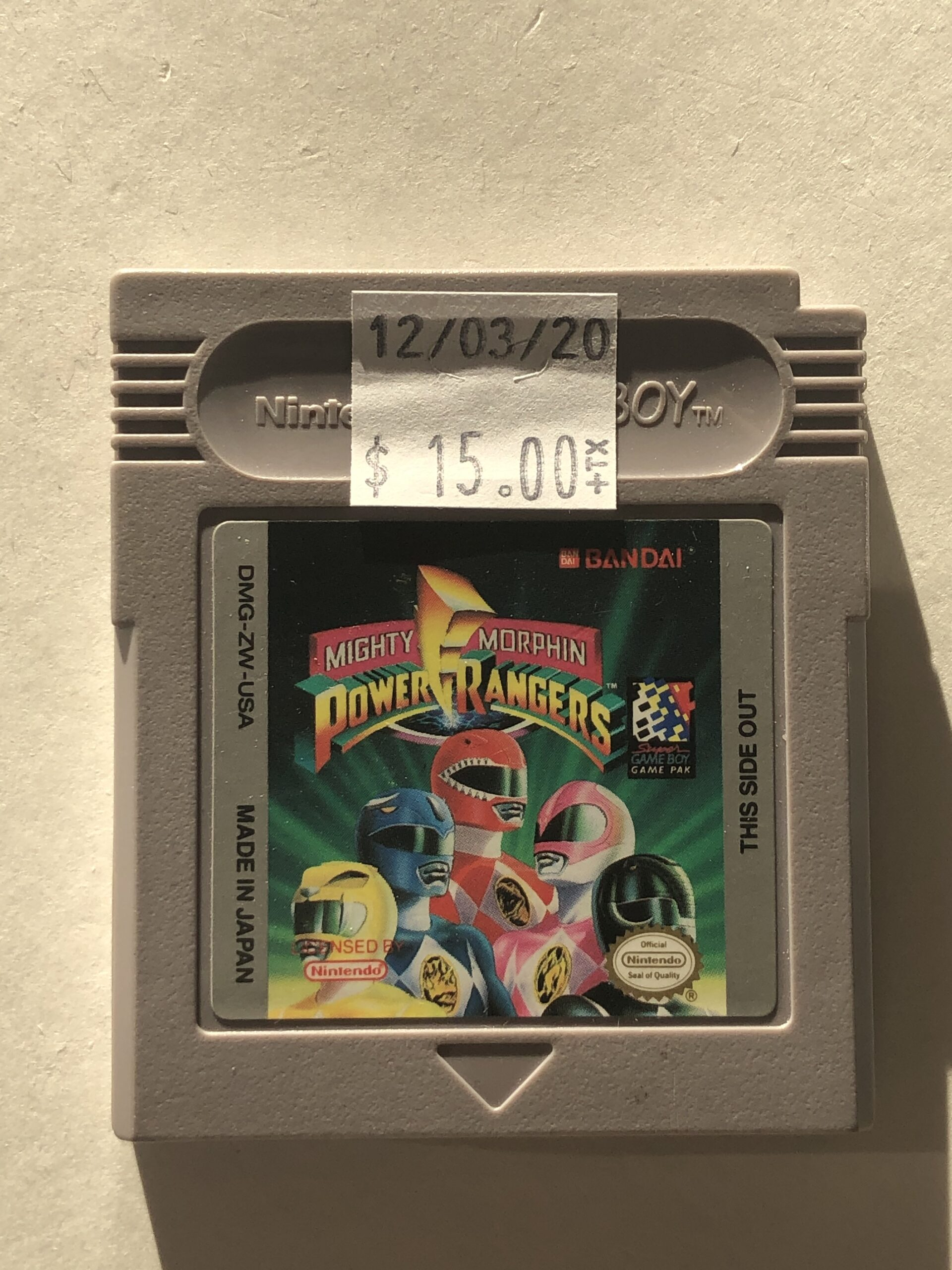 Mighty Morphin Power Rangers Cartridge Gameboy