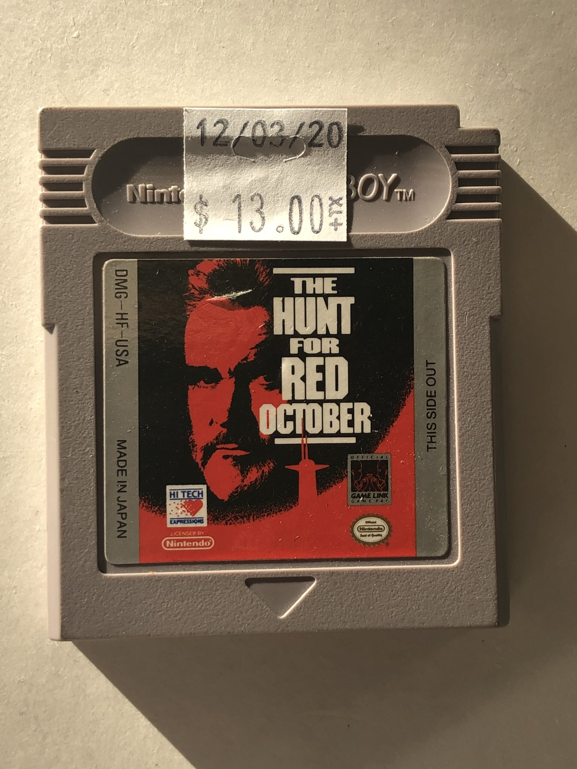 The Hunt For Red October Cartridge Gameboy