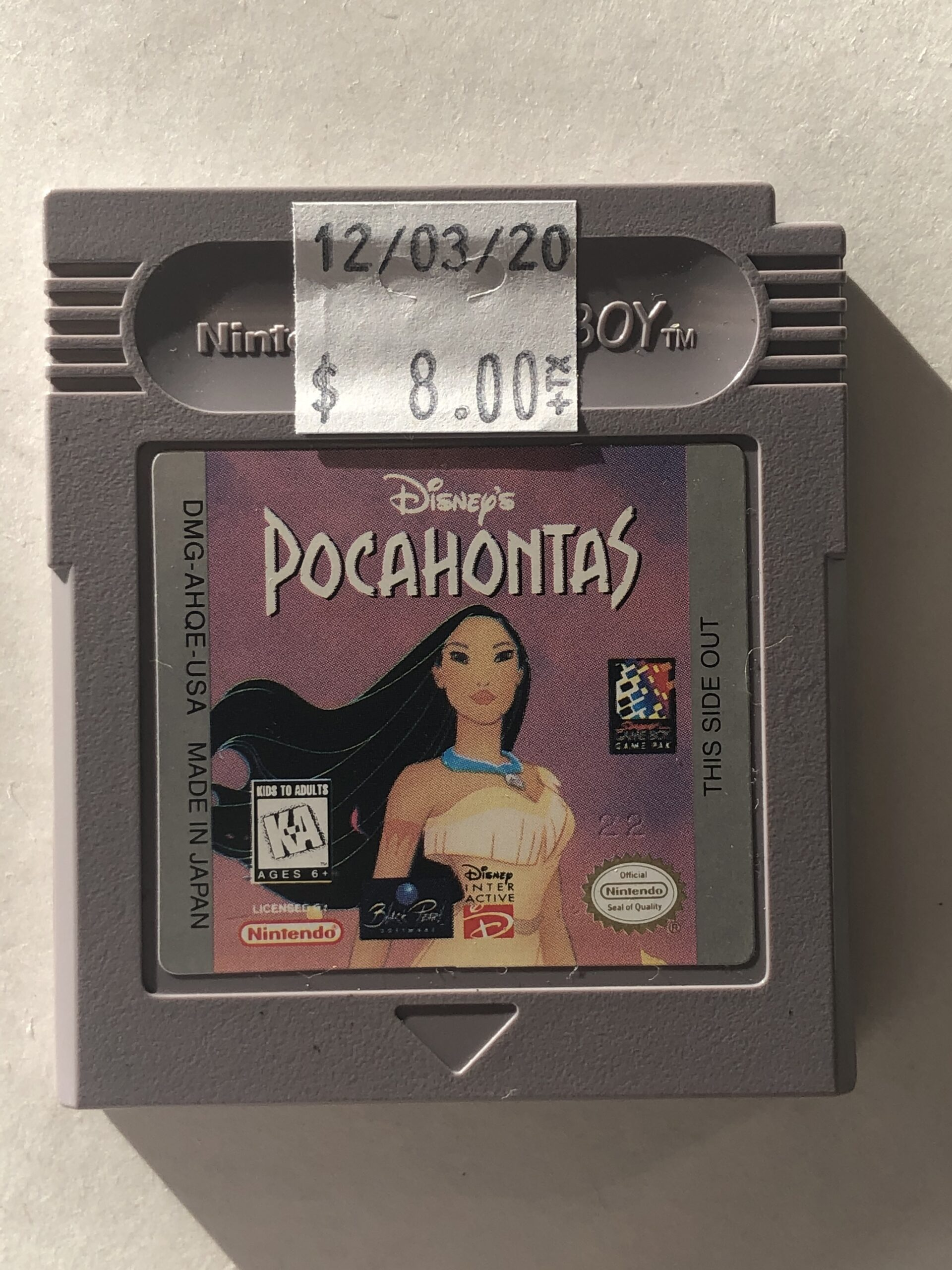 Pocahontas Cartridge Gameboy