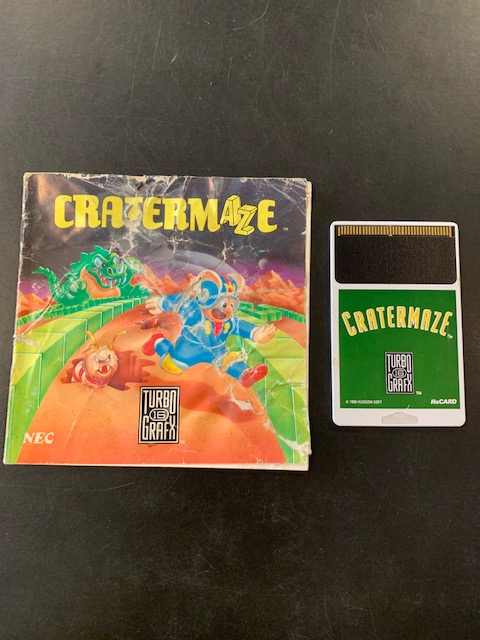 Crater Maze Turbo Grafx 16 Manual & HuCard Only
