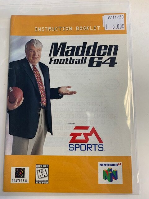 Madden Football 64 N64 Manual