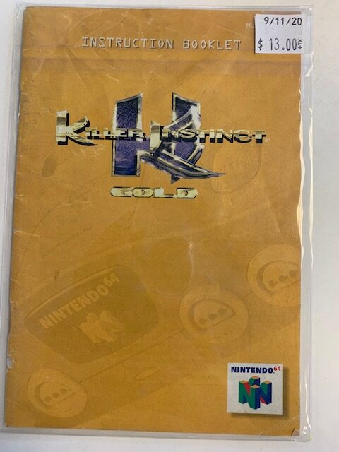 Killer Instinct Gold N64 Manual